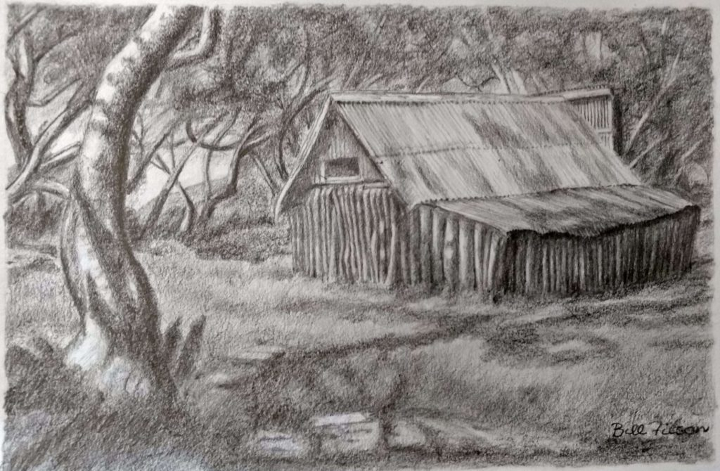 WF3527DPP Wallaces Hut Victorian Alps – Drawing in Pencil on Paper by Bill Filson20200311-372x243mm-270dpi-60%-yAbuI
